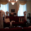 Dress forms were borrowed from Bethany at the James Madison Museum. Connie prepares the 1933 Holladay wedding dress on the other form.